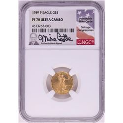 1989-P $5 Proof American Gold Eagle Coin NGC PF70 Ultra Cameo Mike Castle Signature