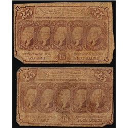 Lot of (2) March 3, 1863 First Issue Twenty-Five Cents Fractional Currency Notes