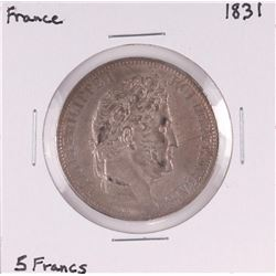 1831 France 5 Francs Silver Coin