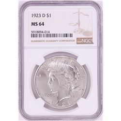 1923-D $1 Peace Silver Dollar Coin NGC MS64