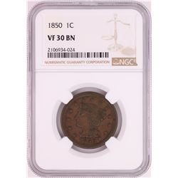 1850 Braided Hair Large Cent Coin NGC VF30BN