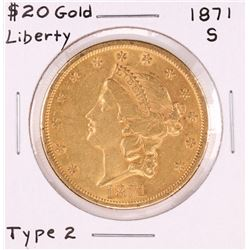 1871-S $20 Liberty Head Double Eagle Gold Coin