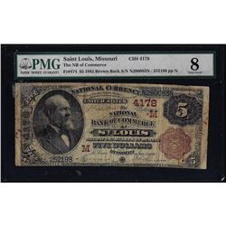 1882BB $5 Bank of Commerce St. Louis, MO CH# 4178 National Currency Note PMG Very Good 8