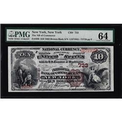1882BB $10 Commerce New York, NY CH# 733 National Note PMG Choice Uncirculated 64