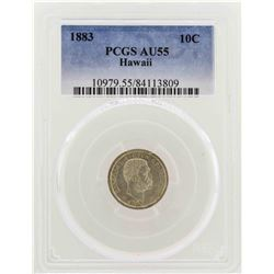 1883 Kingdom of Hawaii Dime Coin PCGS AU55