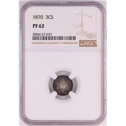 1870 Proof Three Cent Silver Piece Coin NGC PF62
