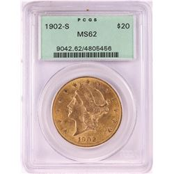 1902-S $20 Liberty Head Double Eagle Gold Coin PCGS MS62 Old Green Holder