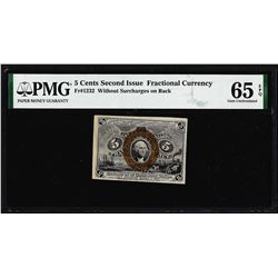 1863 Five Cents Second Issue Fractional Note Fr.1232 PMG Gem Uncirculated 65EPQ