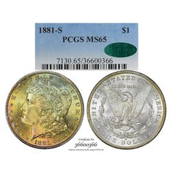 1881-S $1 Morgan Silver Dollar Coin PCGS MS65 CAC Amazing Toning