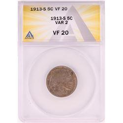 1913-S Type 2 Buffalo Nickel Coin ANACS VF20