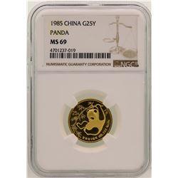 1985 China 25 Yuan Panda Gold Coin NGC MS69