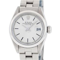 Rolex Ladies Stainless Steel Silver Index Oyster Band Datejust Watch