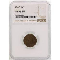 1867 Indian Head Cent Coin NGC AU55 BN