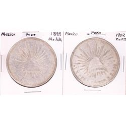 Lot of 1899 & 1902 Mexico Un Peso Silver Coins
