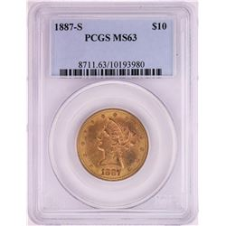 1887-S $10 Liberty Head Eagle Gold Coin PCGS MS63