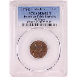 1971-D Lincoln Cent Coin ERROR Struck on Thick Planchet PCGS MS63BN