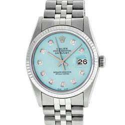 Rolex Men's Stainless Steel Ice Blue Diamond 36MM Datejust Watch