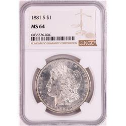 1881-S $1 Morgan Silver Dollar Coin NGC MS64 Great Toning