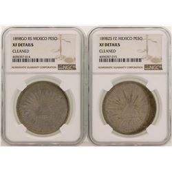 Lot of (2) 1898 Mexico Pesos Silver Coins NGC Graded XF Details