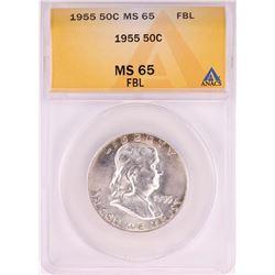 1955 Franklin Half Dollar Coin ANACS MS65FBL