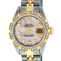 Rolex Ladies Two Tone Pink Mother Of Pearl Diamond Oyster Perpetual Datejust