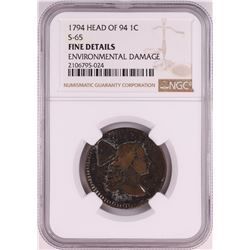 1794 Head of 94 S-65 Liberty Cap Large Cent Coin NGC Fine Details