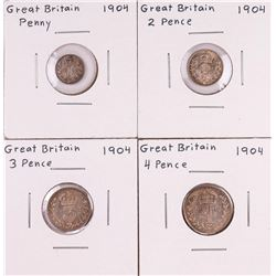 1904 Great Britain (4) Coin Silver Pence Maundy Set