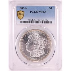 1885-S $1 Morgan Silver Dollar Coin PCGS MS63