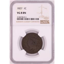 1827 Coronet Head Large Cent Coin NGC VG8BN