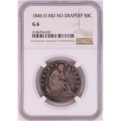 1846-O MD No Drapery Seated Liberty Half Dollar Coin NGC G6