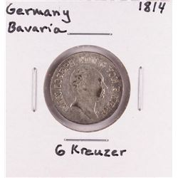 1814 Germany Bavaria 6 Kreuzer Silver Coin