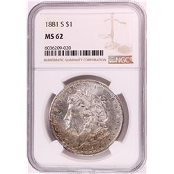 1881-S $1 Morgan Silver Dollar Coin NGC MS62 Nice Toning