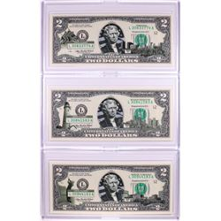 Lot of (3) 2003A $2 Federal Reserve Notes Uncirculated in Cases
