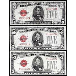 Lot of (3) 1928C/F $5 Legal Tender Notes