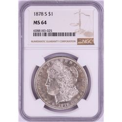 1878-S $1 Morgan Silver Dollar Coin NGC MS64