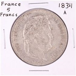 1834-S France 5 Francs Silver coin
