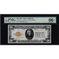 1928 $20 Gold Certificate Note Fr.2402 PMG Gem Uncirculated 66EPQ