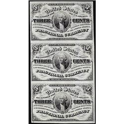 Uncut Sheet of (3) March 3, 1863 Three Cents Third Issue Fractional Currency Notes