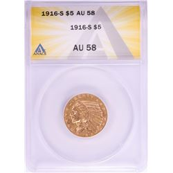 1916-S $5 Indian Head Half Eagle Gold Coin ANACS AU58