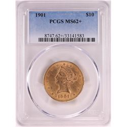 1901 $10 Liberty Head Eagle Gold Coin PCGS MS62+