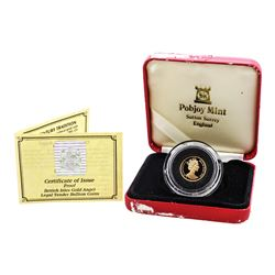 1990-A Proof Isle of Man 1/10 oz Gold Coin w/ Box & COA
