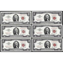 Lot of (6) 1963 $2 Legal Tender Notes