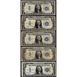 Lot of (5) 1934 $1 Funnyback Silver Certificate Notes