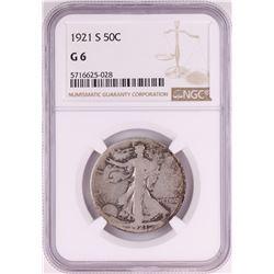 1921-S Walking Liberty Half Dollar Coin NGC G6