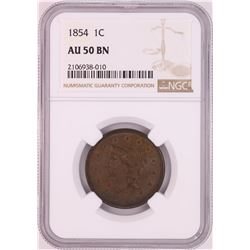 1854 Braided Hair Large Cent Coin NGC AU50BN