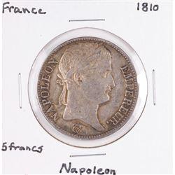 1810 France 5 Francs Napoleon Silver Coin