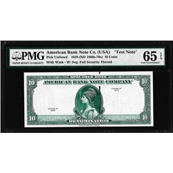 """1929 10 Unit American Bank Note Co. """"Test Note"""" PMG Gem Uncirculated 65EPQ"""