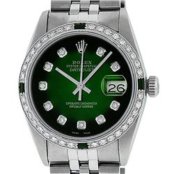 Rolex Men's Stainless Steel 36mm Green Vignette Diamond Datejust Watch