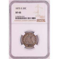 1875-S Twenty Cent Piece Coin NGC XF45