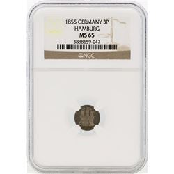 1855 Germany Dreilling Coin NGC MS65